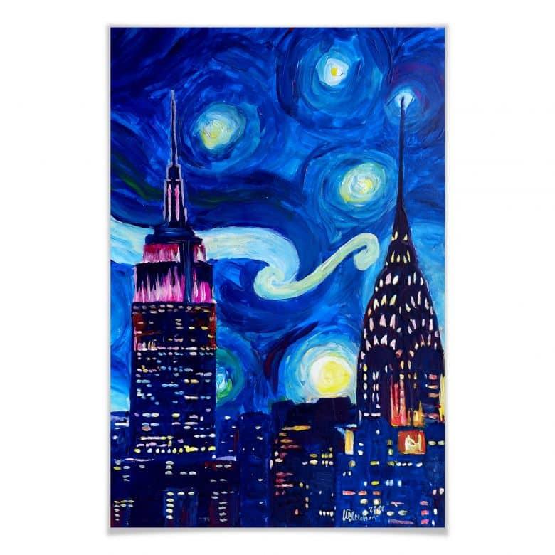 Poster Bleichner - New York bei Nacht