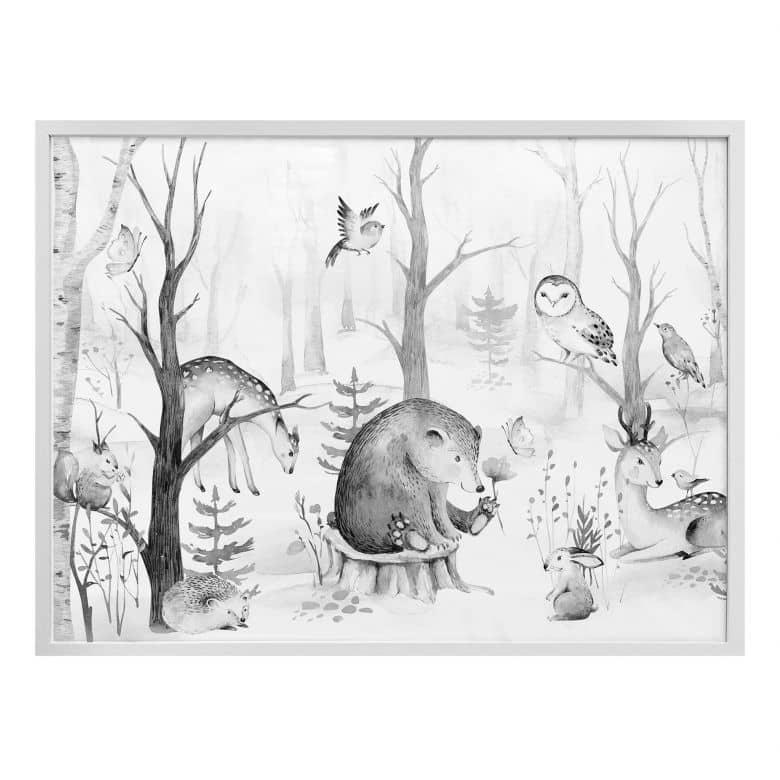 Poster Kvilis - Forest Friends - black and white