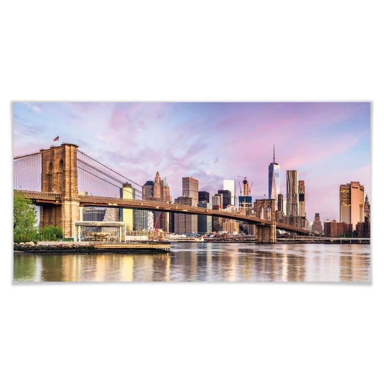 Poster Colombo - Manhattan Skyline und die Brooklyn Bridge - Panorama