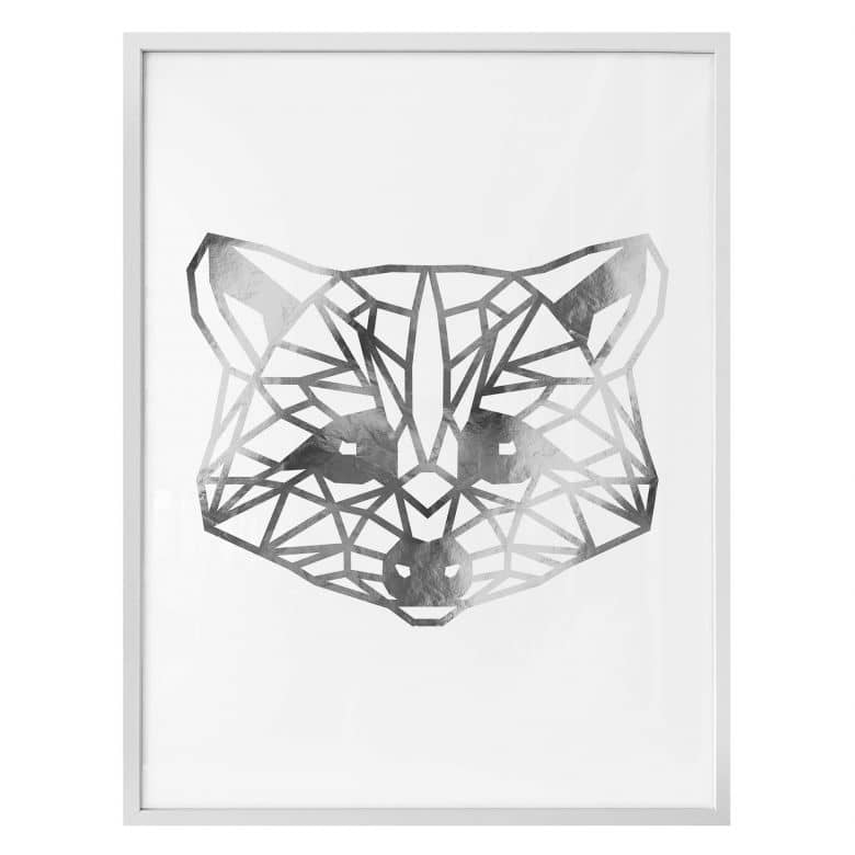 Poster - Origami Waschbär - Silber-Optik