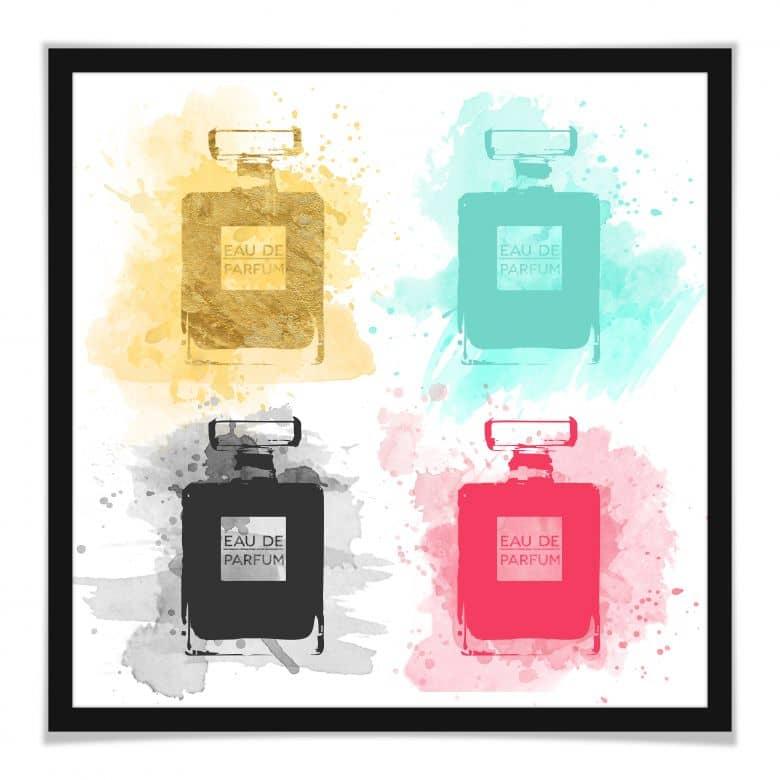 Poster Eau de Parfum Aquarell - bunt