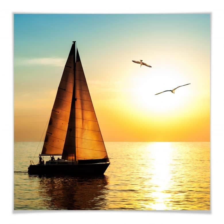 Poster Segelboot im Sonnenuntergang | wall-art.de