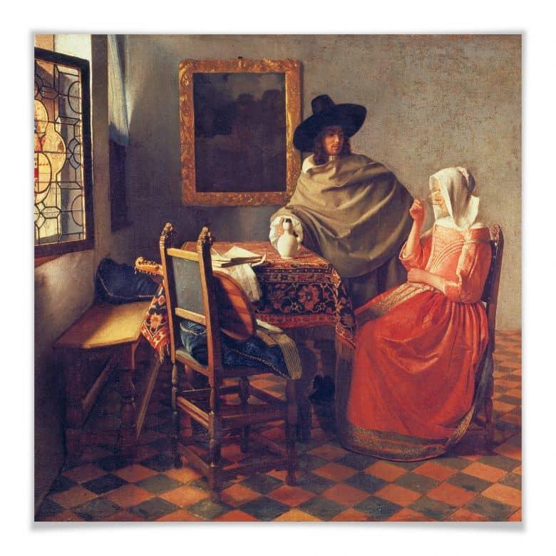 Poster Vermeer - Das Glas Wein