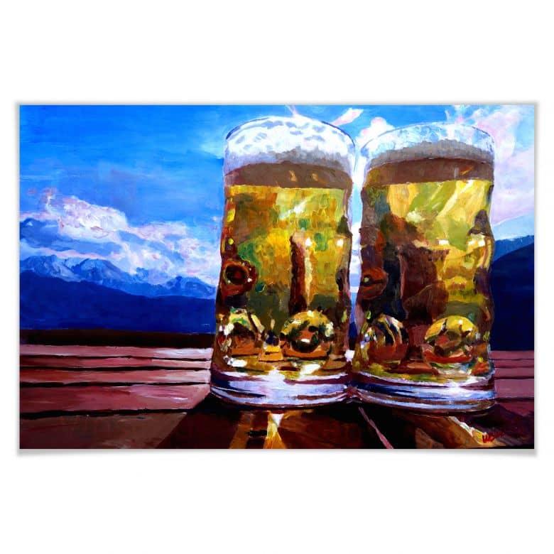Poster - Bleichner - Deux bières dans les montagnes