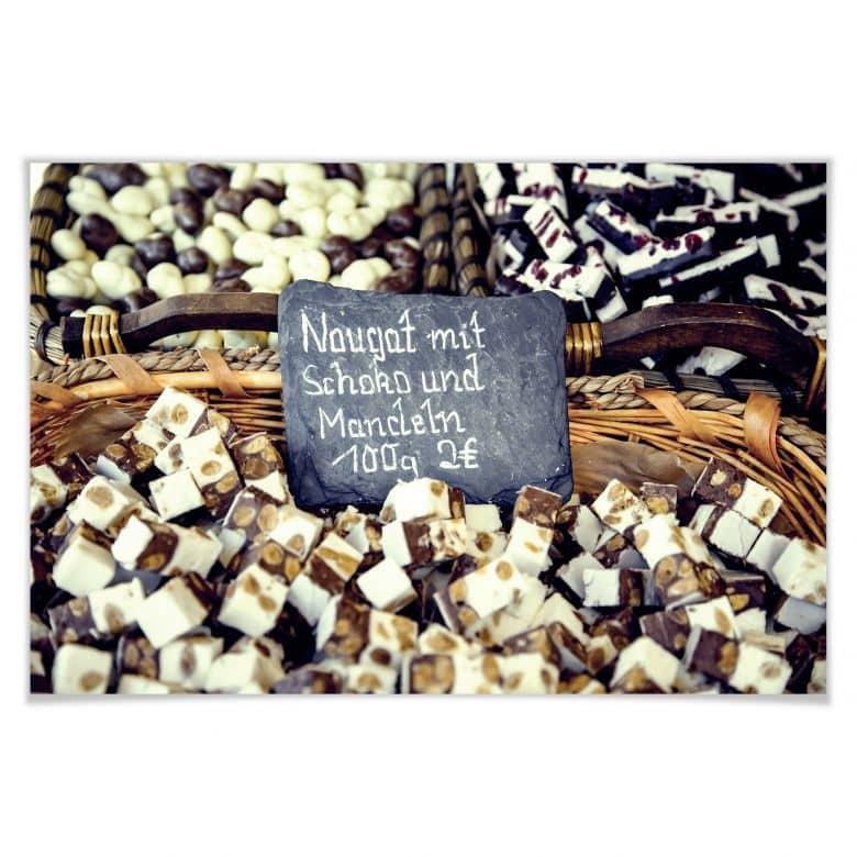 Poster Nougat mit Schokolade und Mandeln