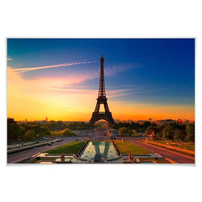 Poster - Tour Eiffel au coucher de soleil