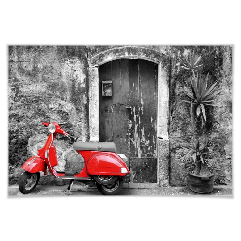 Poster Red Scooter schwarz-weiß
