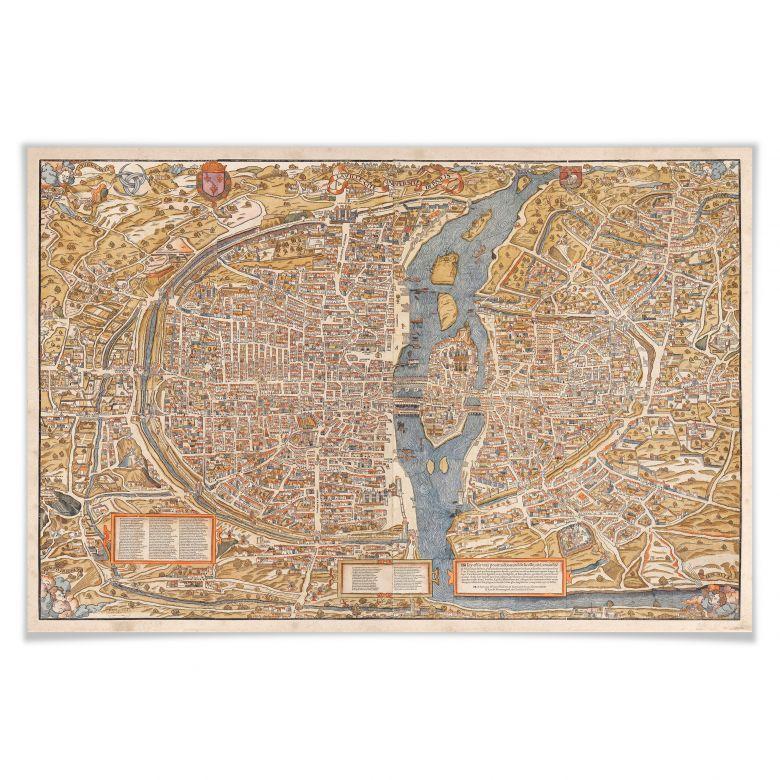 Poster Historische Karte von Paris