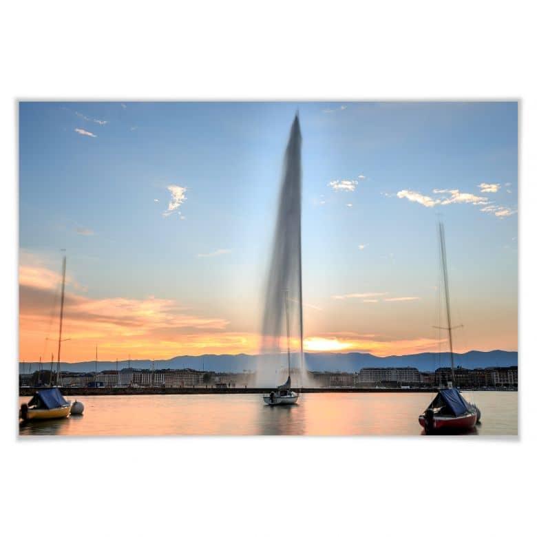 Poster Wasserfontäne im Genfer Sonnenuntergang