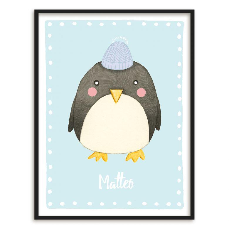 Buntes Premiumposter mit süßem Pinguin für das Kinderzimmer | wall ...