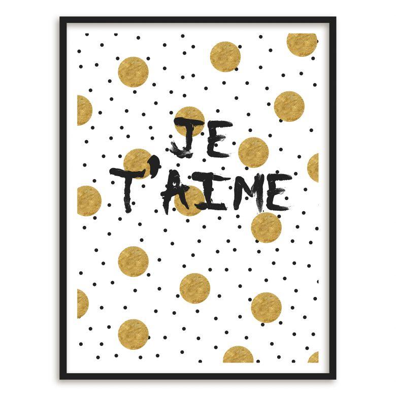 Gerahmtes Poster Je t\'aime | wall-art.de