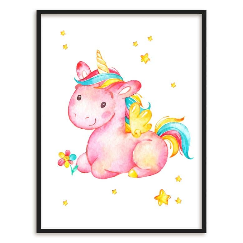 Poster mit Bilderrahmen Pinky the Unicorn