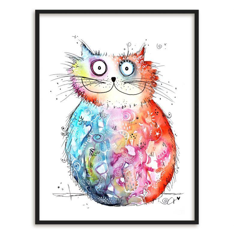 Poster mit Bilderrahmen Hagenmeyer - Happy Cat