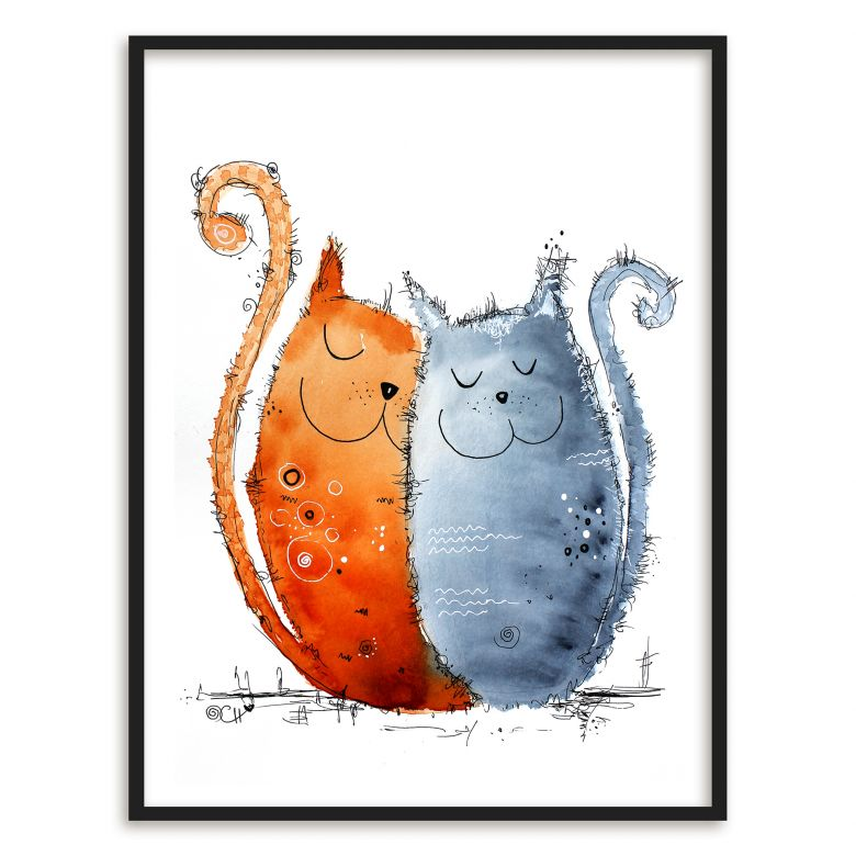 Poster mit Bilderrahmen Hagenmeyer - Verliebte Katzen | wall-art.de