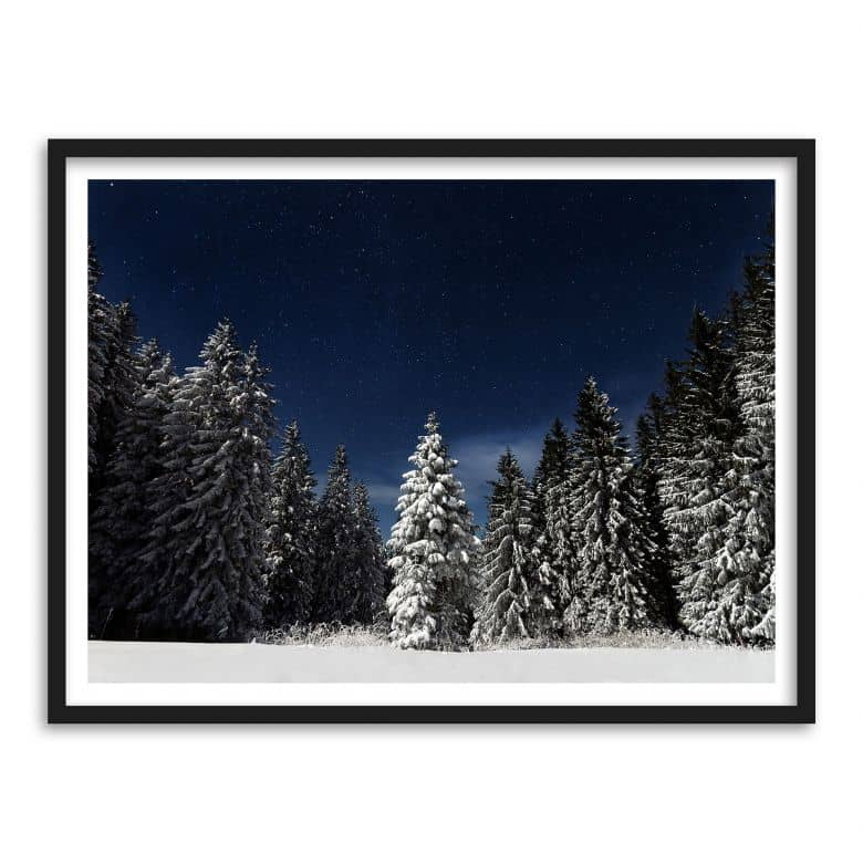 poster mit bilderrahmen winterwald wall. Black Bedroom Furniture Sets. Home Design Ideas