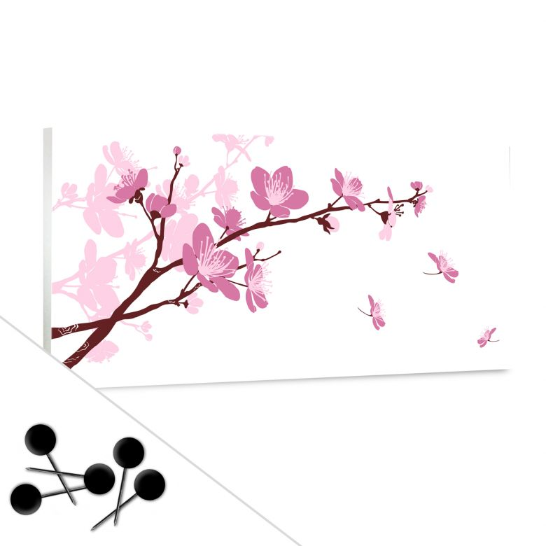 Memoboard Kirschblüten inkl. 5 Pinnadeln