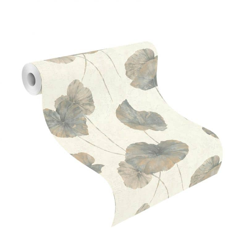 Rasch Vliestapete Andy Wand mit Seerosenblättern blaugrau