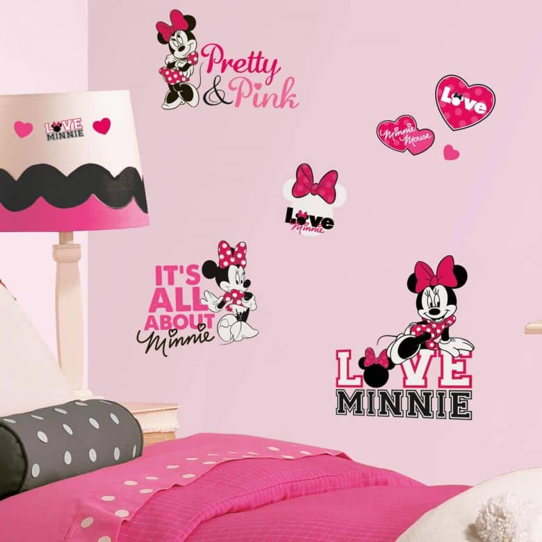 Wall sticker set Disney Minnie Mouse loves pink