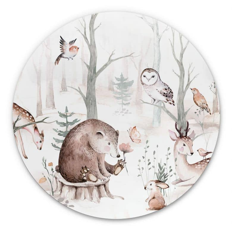 Dibond Circle Kvilis - Forest Friends