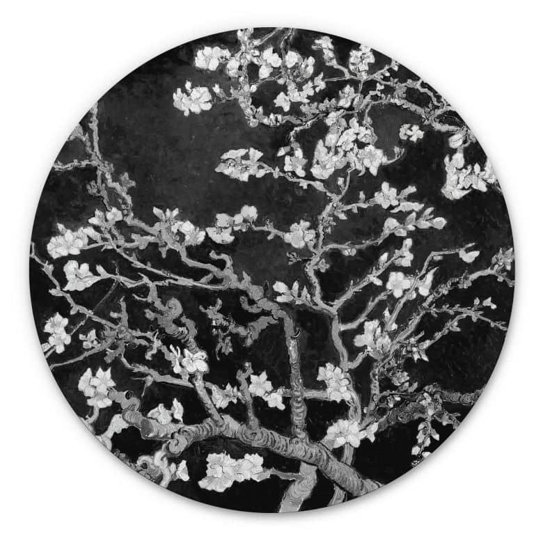 Alu-Dibond van Gogh - Mandelblüte - schwarz - Rund
