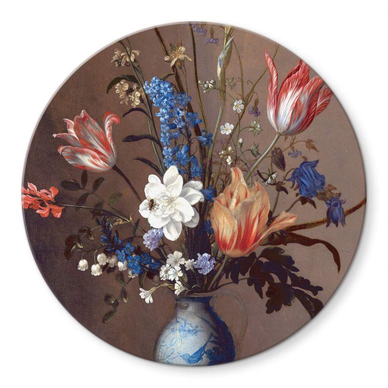 Glasbild Van der Ast - Blumen in einer Wan-Li Vase - Rund