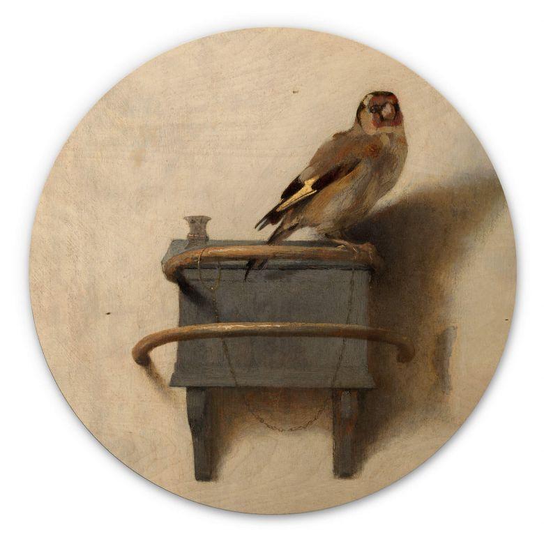 Tableau en bois Fabritius - Le chardonneret - Rond