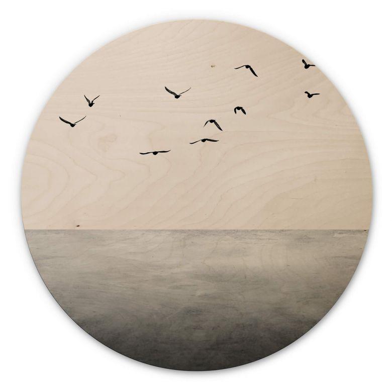 Holzbild Kubistika - Das offene Meer - Rund