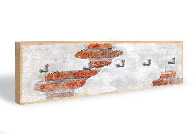 Schlüsselbrett Backsteinmauer + 5 Haken