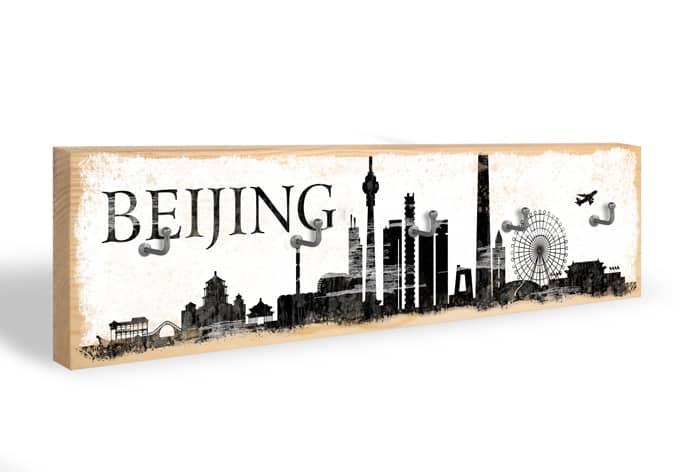 Schlüsselbrett Bejing Skyline + 5 Haken