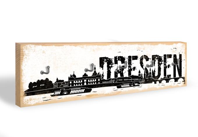 Accroche-clés - Skyline de Dresde + 5 crochets