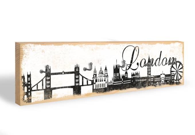 Accroche-clés - Skyline de Londres + 5 crochets