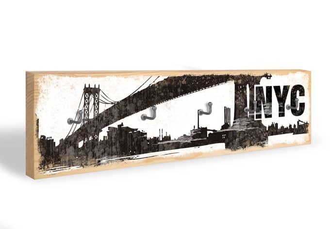 Accroche-clés - Skyline de NYC + 5 crochets