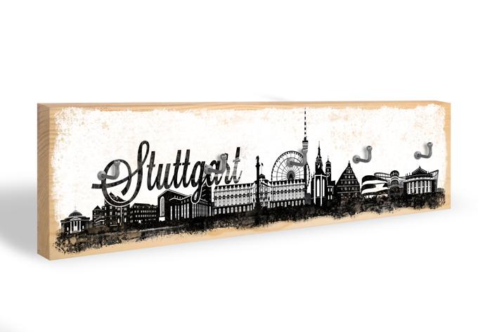 Accroche-clés - Skyline de Stuttgart + 5 crochets