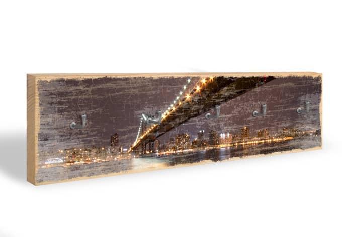 Schlüsselbrett Manhattan Bridge at Night 01 + 5 Haken