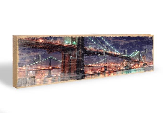 Schlüsselbrett Manhattan Bridge at Night 02 + 5 Haken