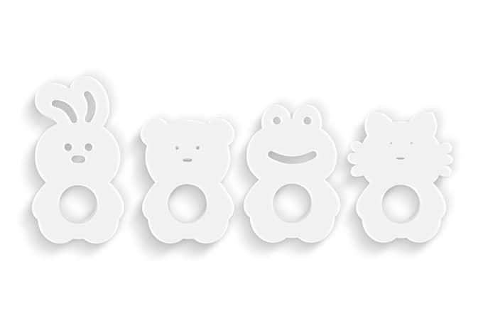Dekobuchstaben 3D Serviettenringe Tiere (4-teilig)
