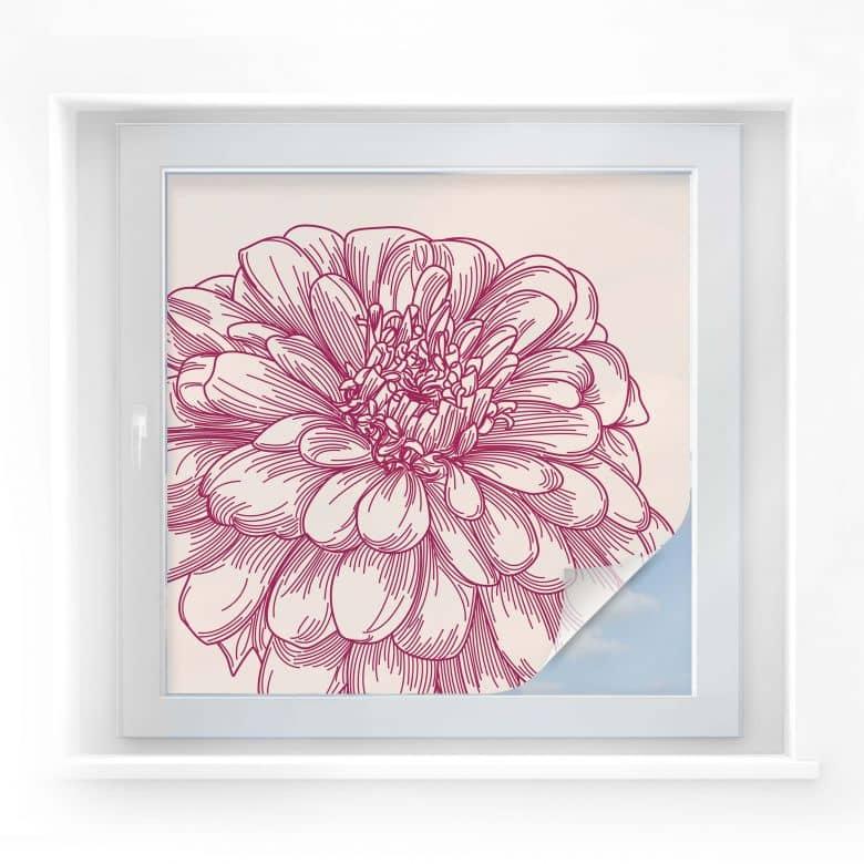 Sichtschutzfolie Blüte Illustration - quadratisch