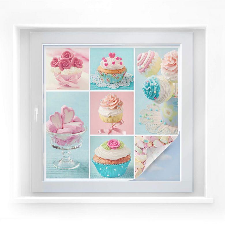 Sichtschutzfolie Cupcake Collage - quadratisch