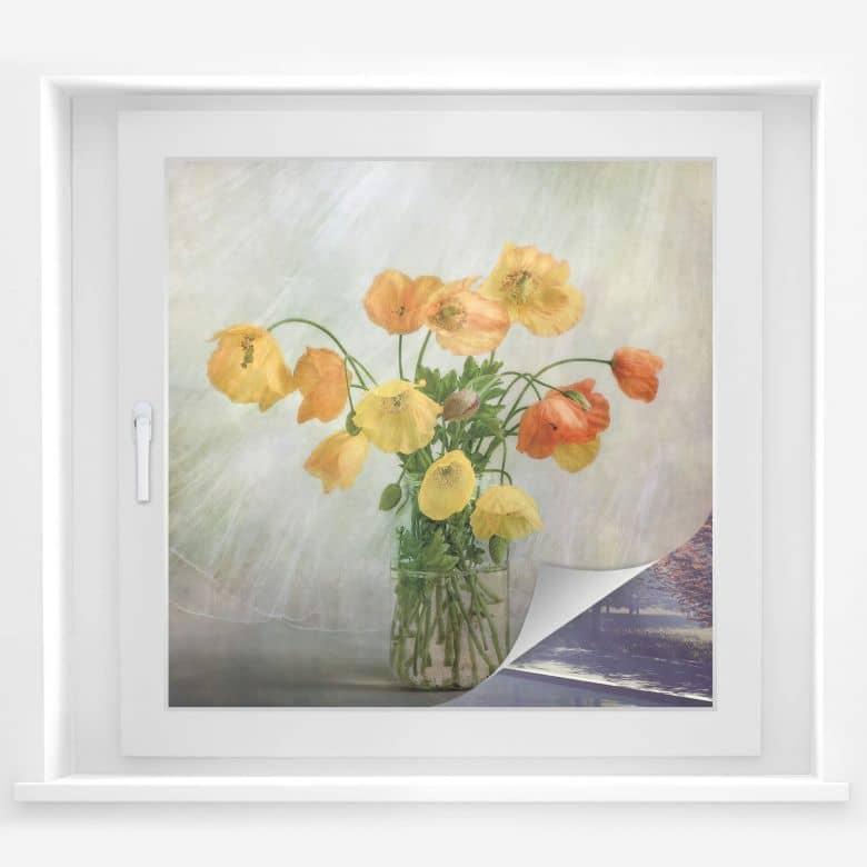 Sichtschutzfolie Disher - Mohnblumen im Glas