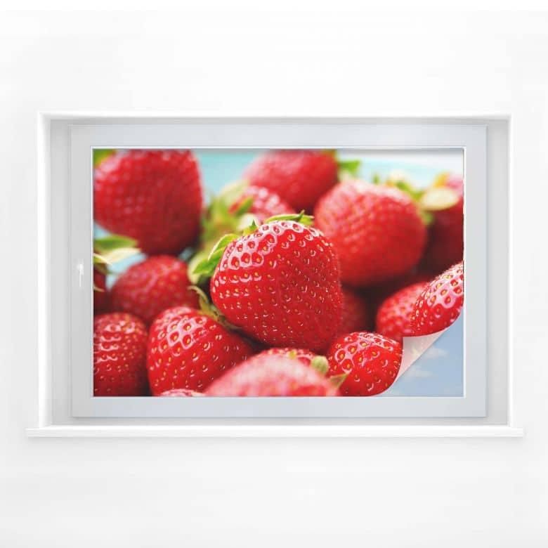 Sichtschutzfolie Erdbeeren aus dem Garten
