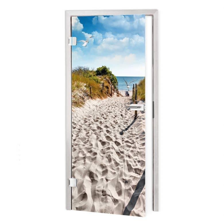 Pellicola adesiva per vetri - strada per la spiaggia