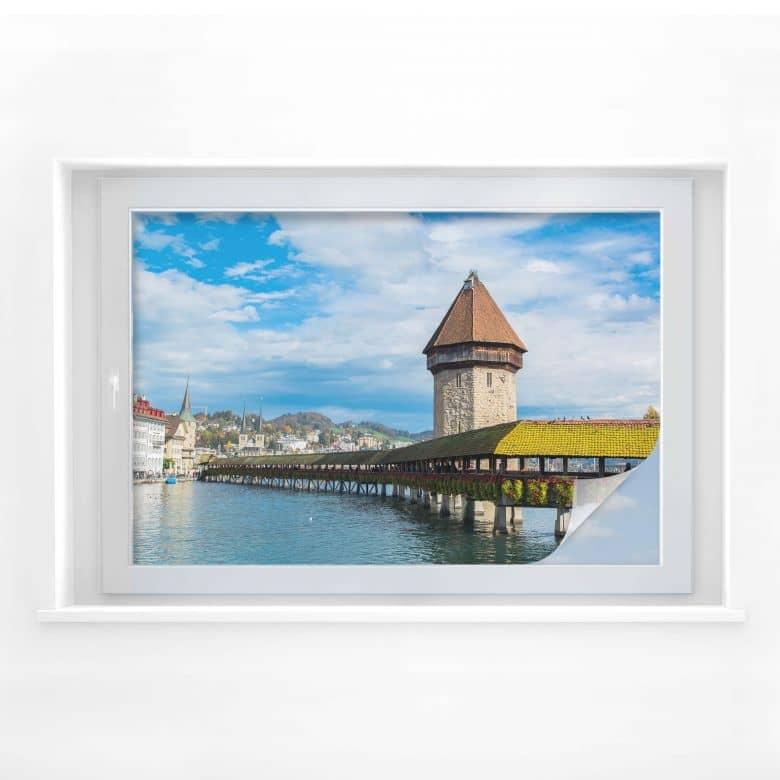 Sichtschutzfolie Holzbrücke in Luzern