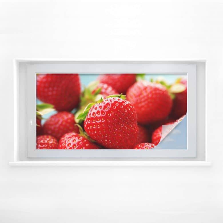 Sichtschutzfolie Erdbeeren aus dem Garten - Panorama