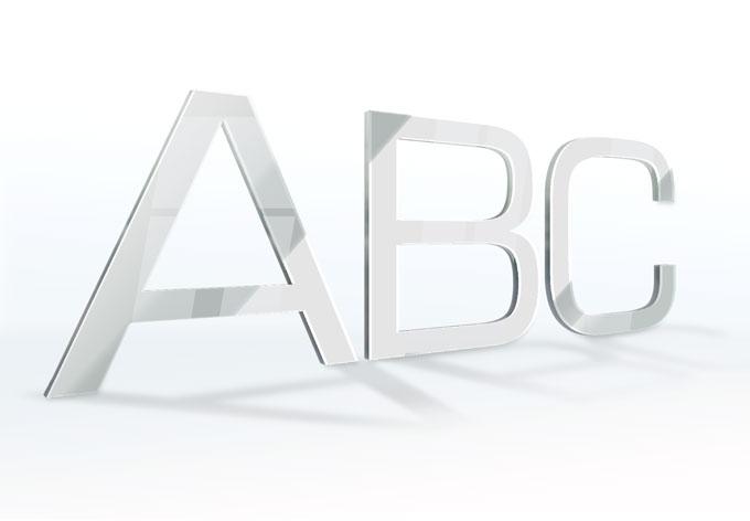 Spiegel-Dekobuchstaben - Schriftart Eurostile