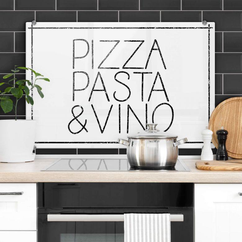Spritzschutz Pizza Pasta & Vino weiß