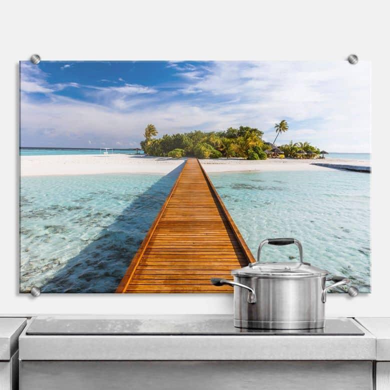 Spritzschutz Colombo Wasserbungalows auf den Malediven Panorama  Rückwand