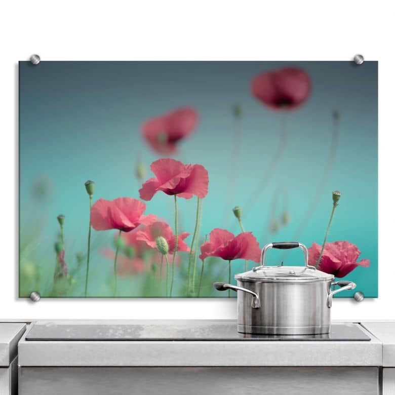 Spritzschutz Delgado – Mohnblumen Pastell