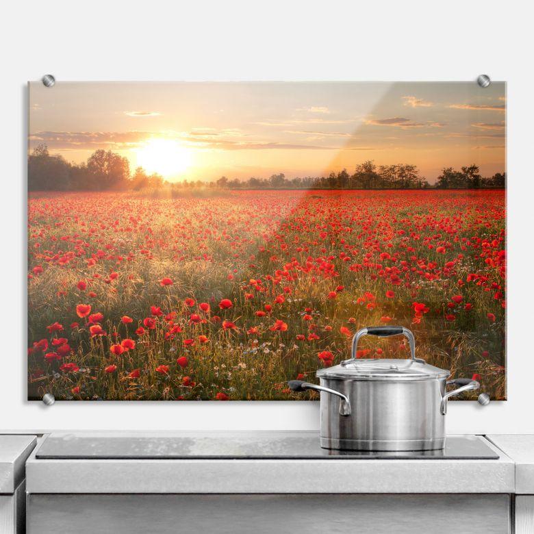 Poppy Field in Sunset - Kitchen Splashback