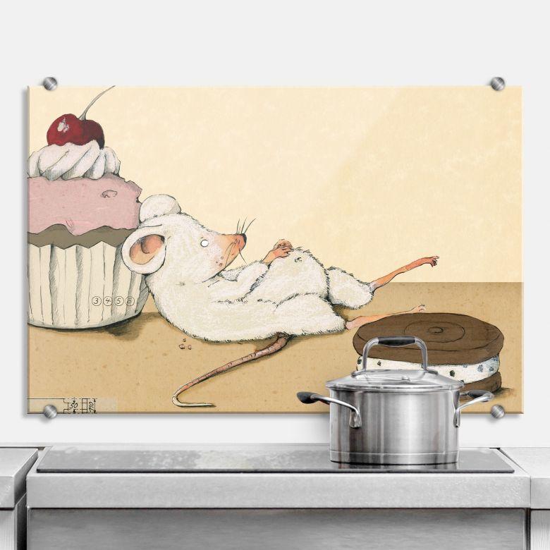 Spritzschutz Loske - Maus mit Muffin