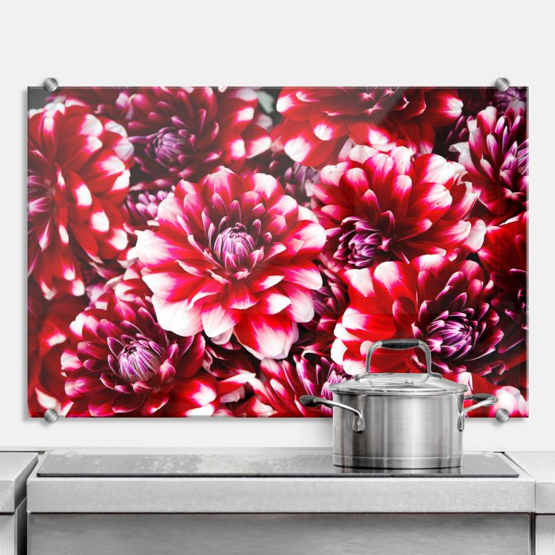 spritzschutz rote bl tenpracht wall. Black Bedroom Furniture Sets. Home Design Ideas